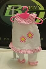 """White Body Suit Pink Flowers for 18"""" Doll Fits Battat American Girl Alexander"""