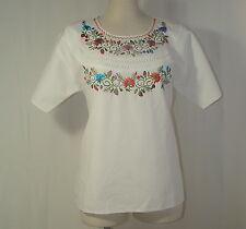 Mexican Fiesta White Spring Floral Embroidered Peasant Etnic Cotton Tunic Top