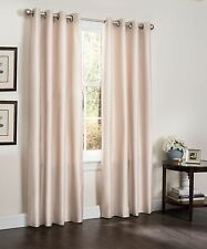 BROWN BLACKOUT WINDOW CURTAIN PANEL, FAUX SILK THERMAL INSULATED, ERIN, 54X90