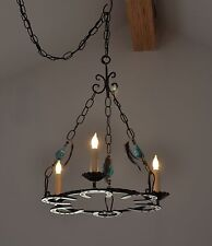 Wrought Iron Horseshoe Chandelier ~Equestrian Country Hanging Lamp Turquoise