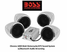 Chrome Sound Audio System Honda Bluetooth All Weather Proof Mounts to Handle bar