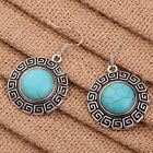 Nice Vintage Jewelry Round Pattern Edge Design Tibetan Silver Turquoise Earrings