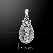 Mantra Om Mani Padme Hum .925 Sterling Silver Pendant by Peter Stone