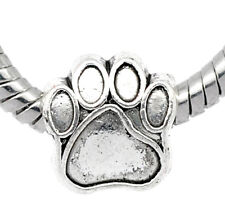 1PC Silver Tone DOG's Paw Palm Charm Beads Fit European Charm Bracelets