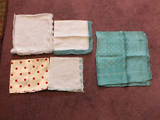 Collectible Ladies Handkerchief Set 5  Satin, Lace Embroidery Teal Red Dot NICE