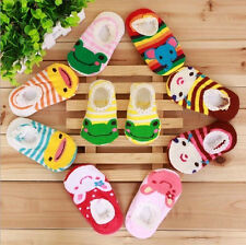 5PCs/Lots Cute Unisex Baby Kids Toddler Girl Boy Anti-Slip Socks Shoes Slipper