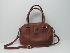 CALVIN KLEIN PEBBLED LEATHER LOCK HANDBAG SHOULDER BAG SATCHEL COGNAC