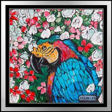Fleur Cowles Original Animal Painting Oil On Board Signed Macaw Parrot Artwork