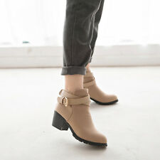 Women Low Heel Ankle Boots Winter Martin Snow Botas Warm Heels Boot Shoes S7