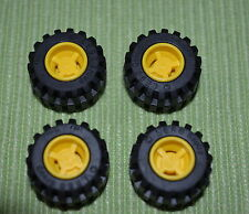 Tires ~ 4 small Car/Truck Tires with Yellow Rims ~ NEW ~ Lego