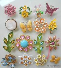 16pc Fine VINTAGE JEWELRY Lot Cutie RHINESTONE flower pins CAROL LEE Butterflies