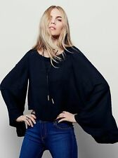 NWT FREE PEOPLE WOMEN SzM STAR ALIGNED BELL SLEEVE CROP TOP BLOUSE BLACK