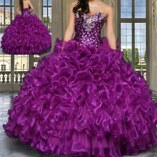 Sweet Purple Quinceanera Dresses Beaded Wedding Prom Formal Ball Gown for 15 16