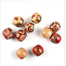 100pc Mixed Big Hole Wooden Loose Spacer Wood Beads Fit Charm Bracelet Jewelry