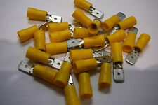 25 pack of yellow 6.3 terminal crimp connector push on male spade crimps