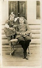 BOY & GIRL,BROTHER & SISTER IN WICKER CHAIR ORIGINAL VINTAGE REAL PHOTO POSTCARD