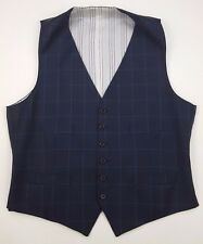 POLO Ralph LAUREN Vest WAISTCOAT Size 44L Gilet WINDOWPANE Check BLUE Mens WOOL*