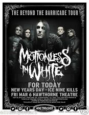 """MOTIONLESS IN WHITE """"BEYOND THE BARRICADE TOUR"""" 2015 PORTLAND CONCERT POSTER"""