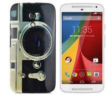 Case f Motorola Moto G2 Schutzhülle Bumper Cover Etui TPU Gel Kamera retro