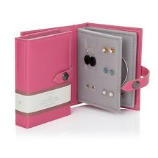 Small Little Book Of Earrings Pink 2 Page Jewellery Box Book Travel Size Gift