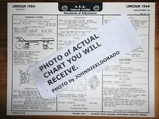 1964 Lincoln EIGHT Series Lincoln Continental Models AEA Tune Up Chart