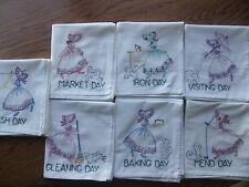 HAND EMBROIDERED DISHTOWELS SET 7XL COLONIAL LADY W/DOG UNUSED UNIQUE GIFT