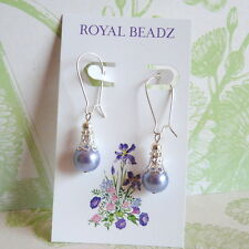 Victorian Vintage Filigree Style Purple Lavender Pearl Silver Drop Earrings