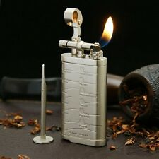 Retro Silver Handmade Copper Refillable Flint butane Lighter With Pipe Tamper