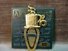 """JJ"" Jonette Jewelry Gold Pewter 'Coffee Lover' Brew & Bagel Bookmark"