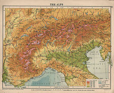 1934 MAP ~ SWITZERLAND THE ALPS ITALY LAND HEIGHTS
