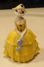 YELLOW GERMAN MARDI GRAS HARLEQUIN FIGURAL LADY POWDER JAR TRINKET BOX