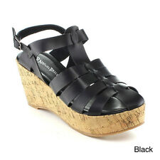 Nature Breeze Zurich-02 Women's Wedge Sandal Black Size 7.5 188WF
