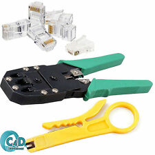 RJ45 Cat5e Cat6 Ethernet Network LAN Cable Crimping Stripper Tool 20 Connectors