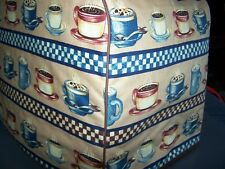 Coffee Cups Stripe Quilted Fabric Keurig Platinum Brewer Cover NEW