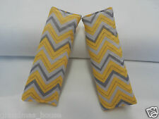 Baby Padded Strap Covers Car Chair Stroller - Yellow Grey Chevron 100% Cotton