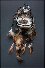 "Bald Eagle Figurine in Black Round Dreamcatcher 6"" Diameter"