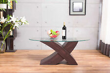 "Designer Oval ""X"" MILANO Brown Wood & Glass Coffee Table Modern Furniture*"