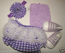 NEW baby bloomers diaper cover ruffles, top, FLOWER headband & shoes PURPLE