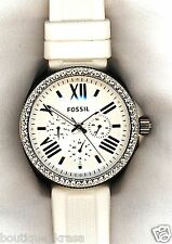 $125 NWT Fossil AM4487 Cecile GMT Multi-function White Silicone Ladies Glitz