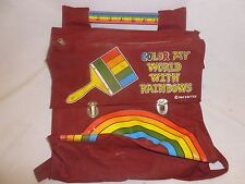 Vtg Retro Backpack School Book Bag Satchel Color My World With Rainbow