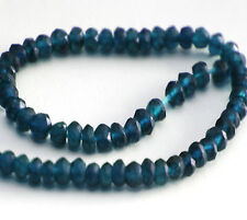 HALF STRAND TOP QUALITY NATURAL DARK BLUE APATITE FACETED RONDELLE BEADS, 3.5 MM