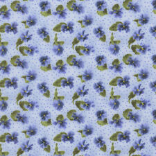 Blue Pansy Buds Floral Lovely Debbie Beaves Floral Quilt  Fabric by the 1/2 yd