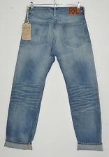 "RRL RALPH LAUREN distressed Selvedge selvage denim jeans Straight Leg 30"" x 32"""