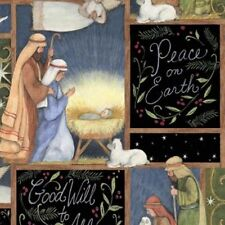 HOLY NIGHT CHRISTMAS NATIVITY FABRIC