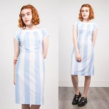 VINTAGE DRESS 80'S BLUE AND WHITE STRIPED PATTERN MIDI LENGTH JERSEY SHEER 8