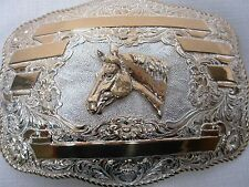 "CRUMRINE RODEO QUARTER HORSE HEAD SILVER PLATE & GOLD BRONZE HUGE 6"" BELT BUCKLE"