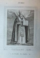 S. Lucio I Papa Mart. 16 ottobre 1840 Incisione Santino Acquaforte Stampa Banzo