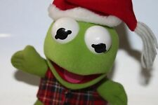 Vintage Kermit the Frog Plush Stuffed Animal Sesame Street Muppets Christmas Hat