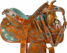 """GREEN INLAY HAND MADE 16"""" BARREL RACING WESTERN TRAIL HORSE LEATHER SADDLE"""