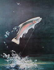 vintage art Rainbow Trout, by Bob Hines